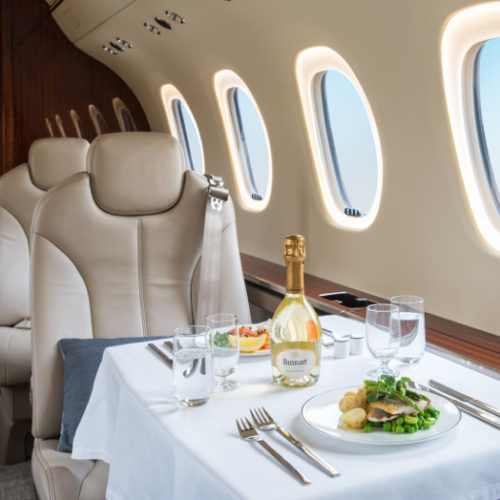 Latitude interior with fine catering | Valley Jet
